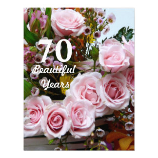 70 Beautiful Years -Birthday Party Pink Roses Invitations