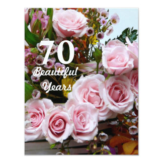 70 Beautiful Years!-Birthday Party/Pink Roses 11 Cm X 14 Cm Invitation Card