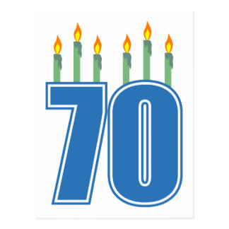 70 Birthday Candles (Blue / Green) Postcard