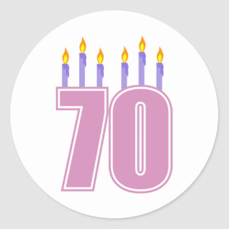 70 Birthday Candles (Pink / Purple) Round Sticker