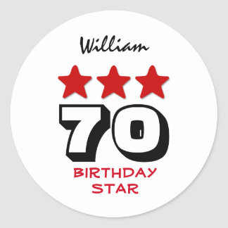 70 Birthday Gift or ANY AGE Red Stars V12B2 Classic Round Sticker