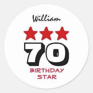 70 Birthday Gift or ANY AGE Red Stars V12B2 Round Sticker