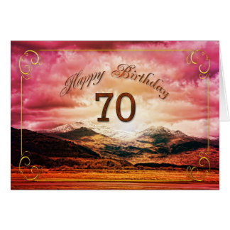 70 birthday, Sunset over the mountains Cards