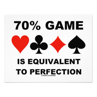 70 Game Is Equivalent To Perfection Card Suits Custom Announcement