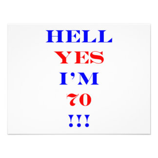 70 Hell yes Personalized Announcement