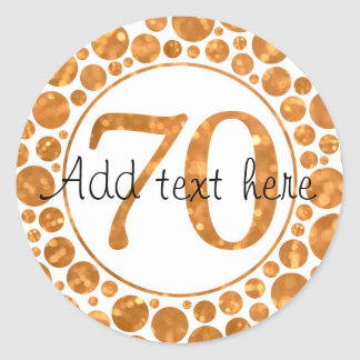70 In Gold - 70th Birthday Party Stickers