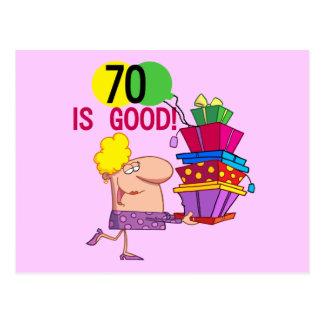 70 is Good Birthday Tshirts and Gifts Postcard