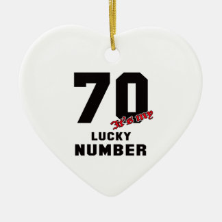 70 It's my lucky number Ceramic Heart Decoration