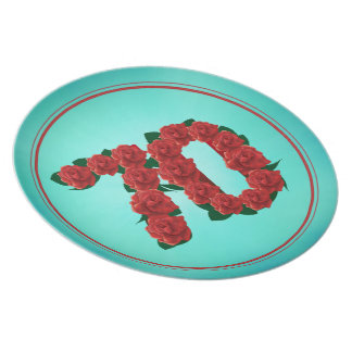 70 number birthday anniversary 70th roses plate