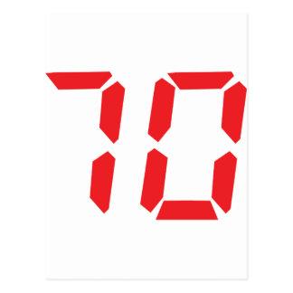 70 seventy red alarm clock digital number postcards