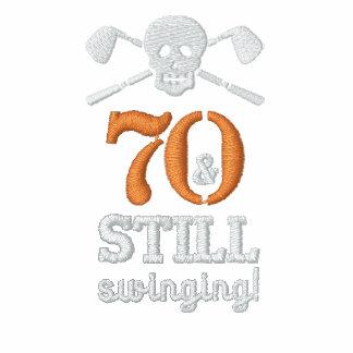 70 & Still Swinging - Golf Birthday Shirt Embroidered Polo Shirt