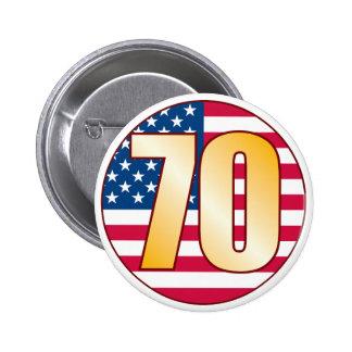 70 USA Gold 6 Cm Round Badge