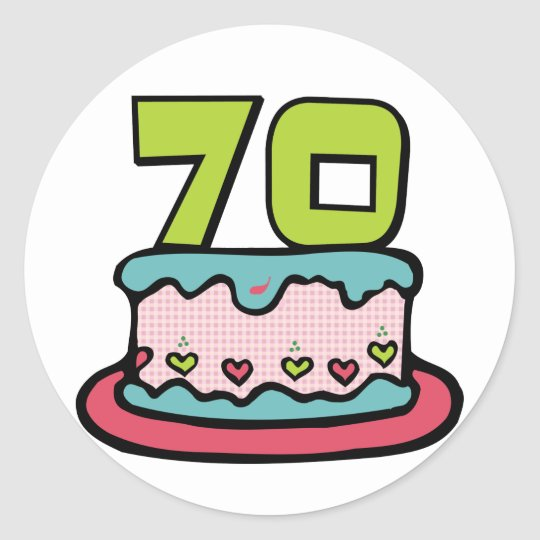 70 Year Old Birthday Cake Classic Round Sticker