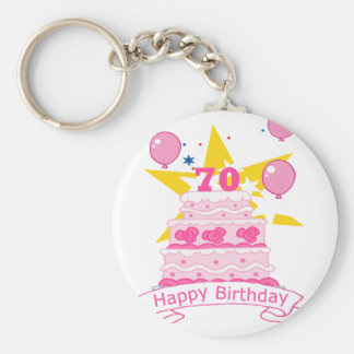 70 Year Old Birthday Cake Key Ring