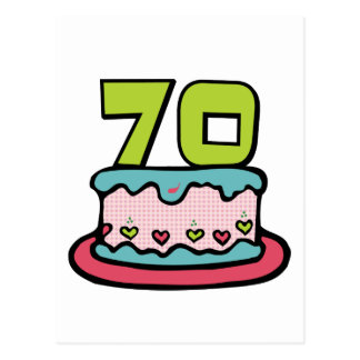 70 Year Old Birthday Cake Postcard
