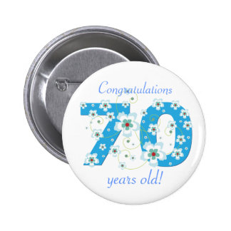 70 years old birthday congratulations button