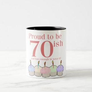 70ish Birthday Two-Tone Coffee Mug