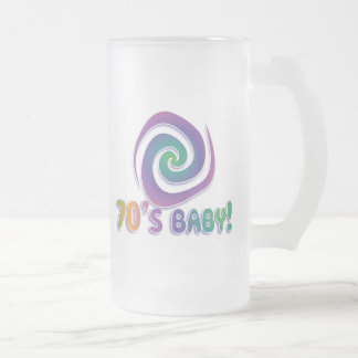 70's baby GROOVY! with swirl Frosted Glass Beer Mug