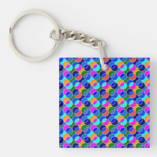 70s Circles blue colorful Acrylic Keychain