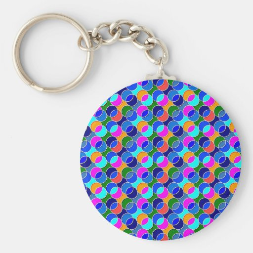 70s Circles blue pink Keychain