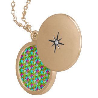 70s Circles colorful Round Locket Necklace
