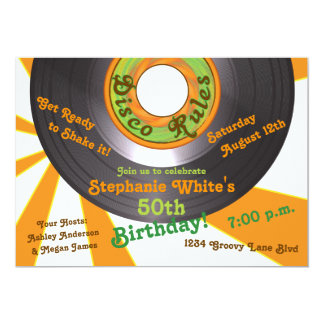 70s Disco Groovy 45 Record 50th Birthday Party Card
