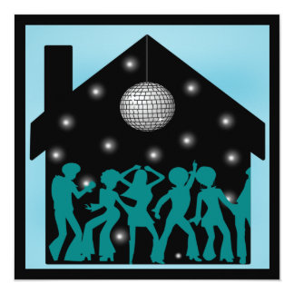 70s Disco Theme House Party 13 Cm X 13 Cm Square Invitation Card