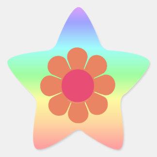 70's Flower Power Star Sticker
