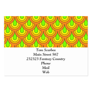 70s green orange retro pattern business cards