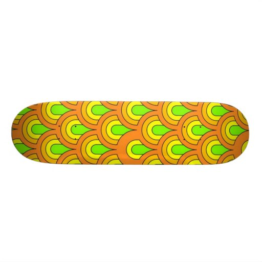 70s green orange retro pattern skate deck