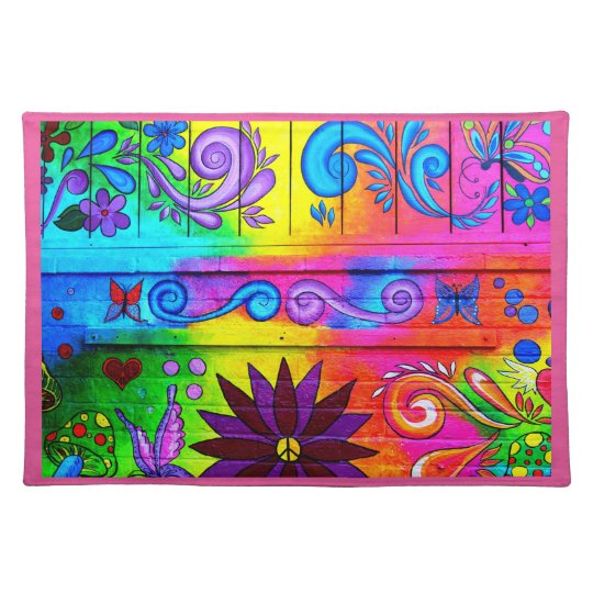 70's groovy hippie pink edge placemat