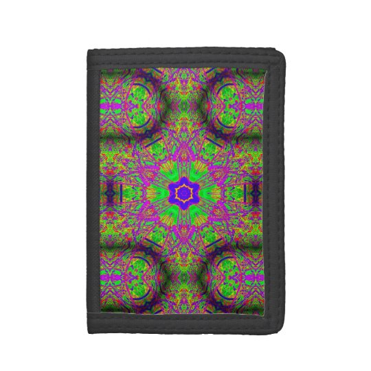 70's hippie groovy psychedelic trifold wallet