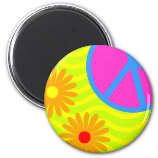 70's Hippie Peace Sign and Flowers Magnet