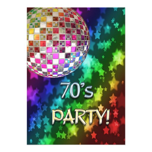 70s invitation with disco ball and rainbow of star