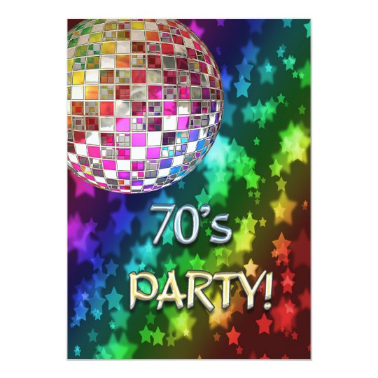 70s invitation with disco ball and rainbow of