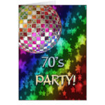 70s invitation with disco ball and rainbow of star greeting card