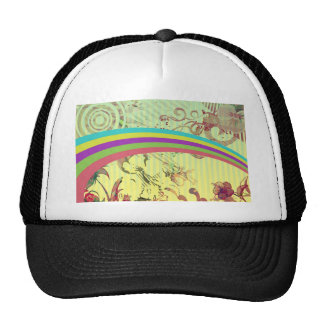 70's ish Retro Rainbow Flower Power Hat