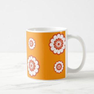 70's Mod Orange Flower Power Coffee Mug