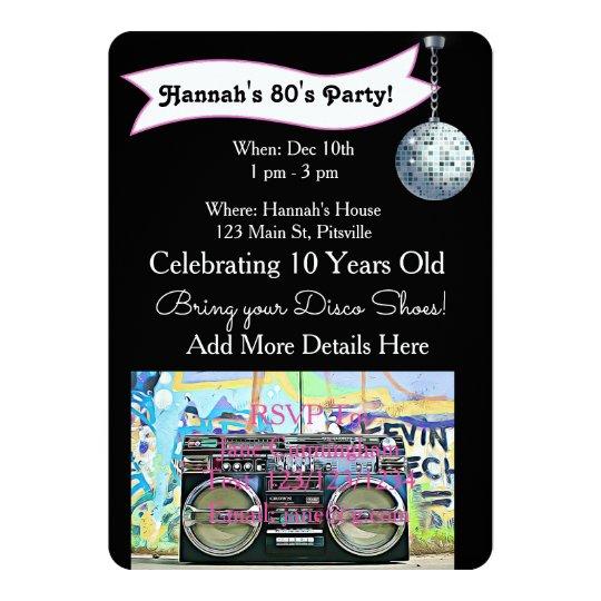 70's or 80's Party Disco Birthday Invitations