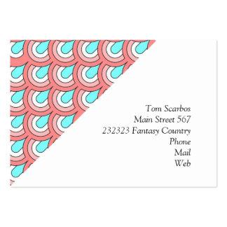 70s peach aqua pattern business cards