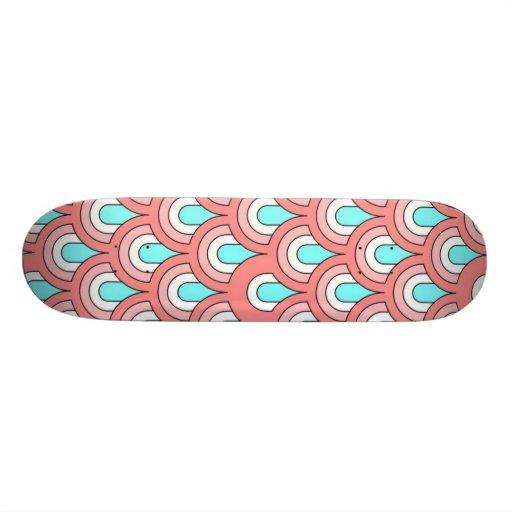 70s peach aqua pattern skate board decks