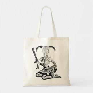 70's pin-up skull budget tote bag