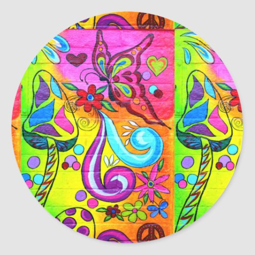 70's psychedelic colorful sticker