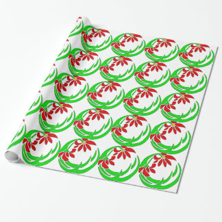 70s Retro Deco Flower Motif Wrapping Paper
