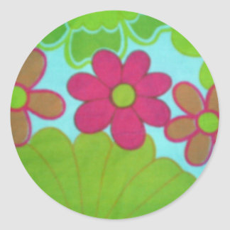 70's Retro Flower's Classic Round Sticker