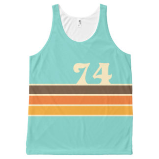 70's Retro Inspired Beach Chest Stripes All-Over Print Tank Top