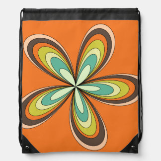 70's retro spring hippie flower power drawstring bag