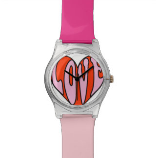 70's Style Mod Summer of Love Heart Pink Red Watch