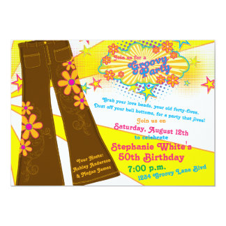 70s Theme Groovy Bell Bottoms 50th Birthday Party 13 Cm X 18 Cm Invitation Card