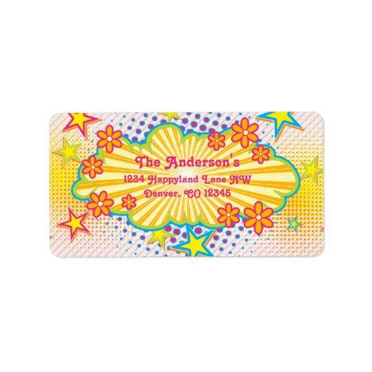 70s Theme Groovy Birthday Party Return Address Label